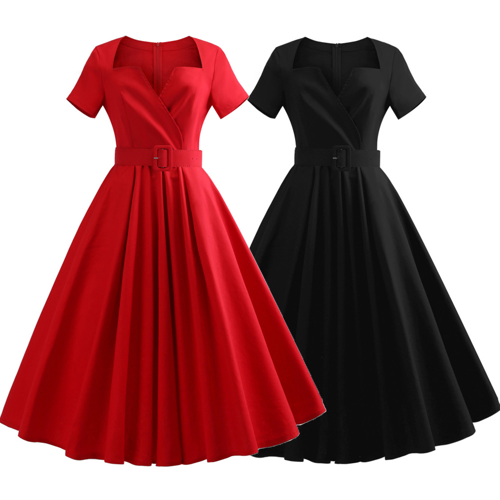 US $17.55 29% OFF|Short Sleeves Plus Size Vintage Dress Belt Cotton Solid  Black/Red Audrey Hepburn Retro Dress Party Vestidos Office Dress-in Dresses  ...