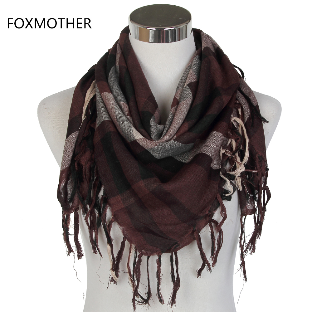 FOXMOTHER 2019 Male Coffee Multicolor Arab Keffiyeh Shemagh Scarf For Mens