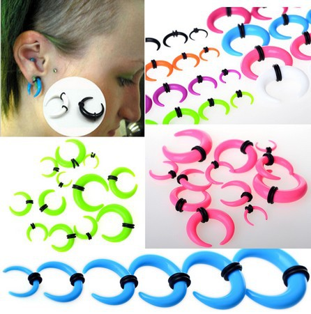 120Pcs Gauge Horn Ear Expander Stretcher Piercing Acrylic Taper Ear Tunnel Plug 2-8mm Unisex Wholesale Lot Body Jewerly