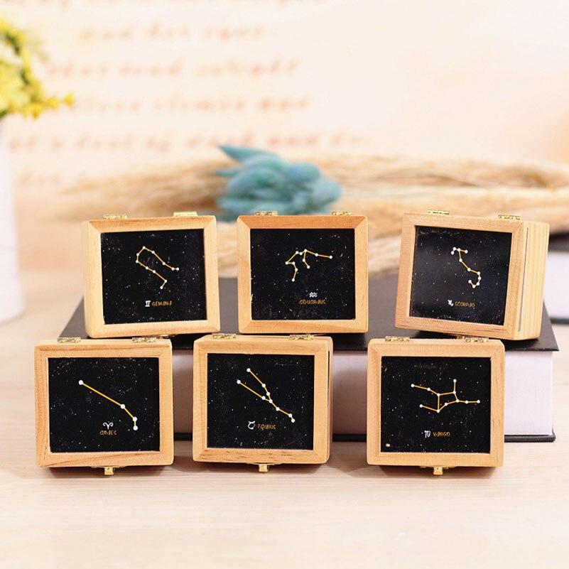 YUYU Mini Wooden Music Box Hand Crank Mechanical Constellation Music Box Birthday Cranked Wood Music Box Christmas Gift