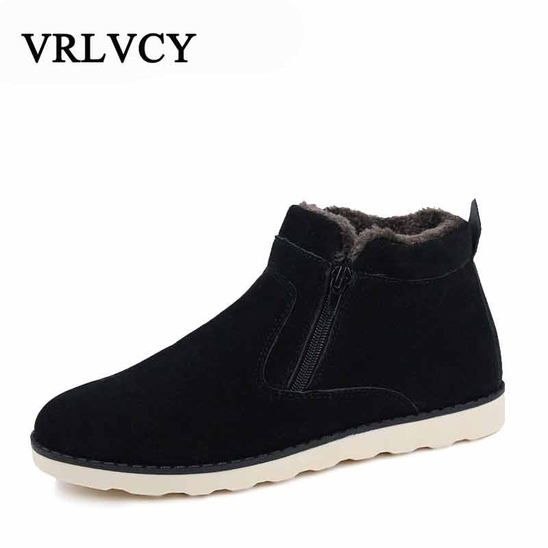 Autumn Winter Men Warm Snow Boots Casual With Short Plush Ankle Boots Height Increasing Rubber Zip Men Shoes Large Size 37-47