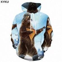 KYKU 3d Hoodies Men 2018 Russia Bear Print Hoodie Animal Sweatshirt Music War Anime Mens Clothing Casual Streetwear Hooded