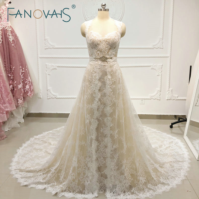 Champagne Lace Wedding Dresses with Long Jacket Two Pieces Wedding Gowns 2019 Vestiao De Novia Vintage Beach Wedding Dress