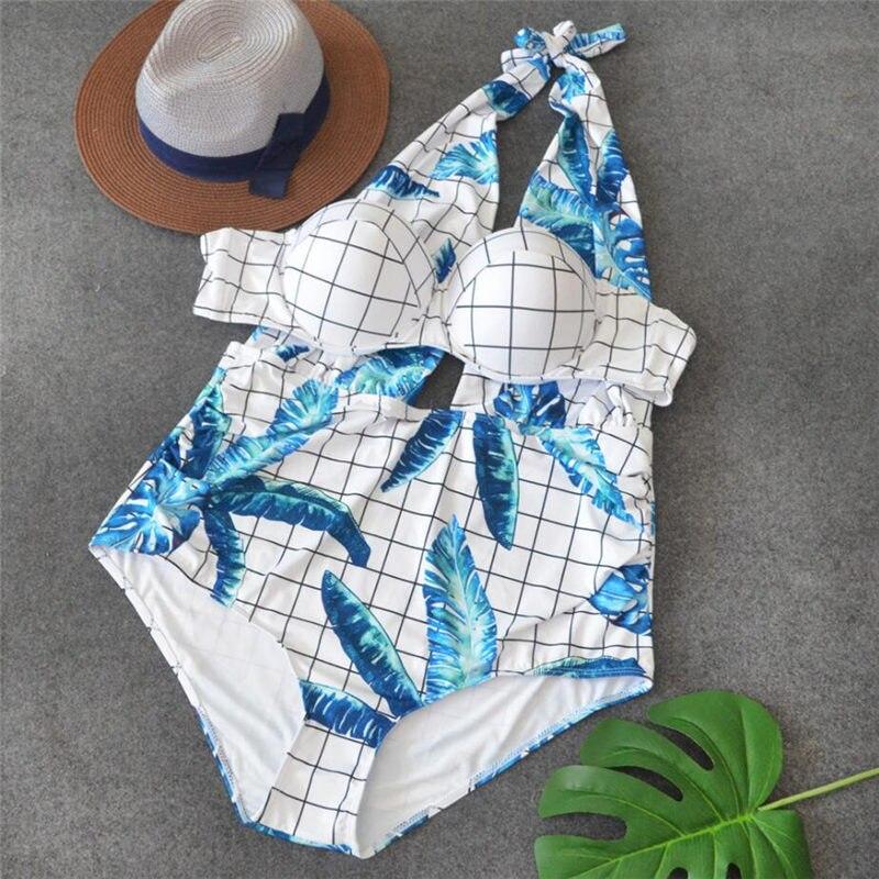 2018 Plus size Push-up bra one-piece swimsuit for fat lady prints women halter modest swimwear sexy bathing suit XXL/XXXL/XXXXL lady xxl