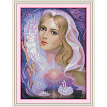 Everlasting love Swan lake fairy Chinese cross stitch kits Ecological cotton stamped printed 14 11CT DIY gift wedding decoration