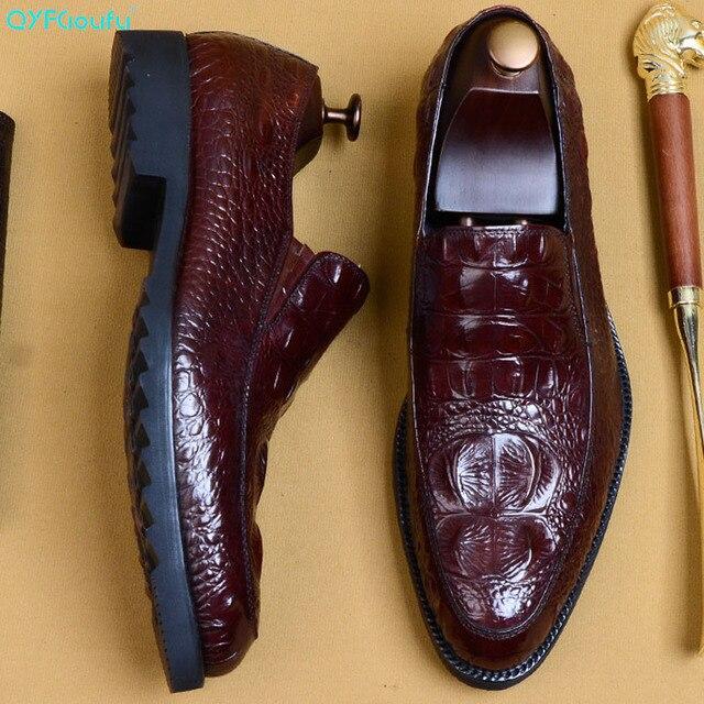 QYFCIOUFU 2019 hommes Crocodile chaussures Slip on robe chaussure pour homme en cuir véritable mariage bureau fête à la main Oxford chaussures EU 46