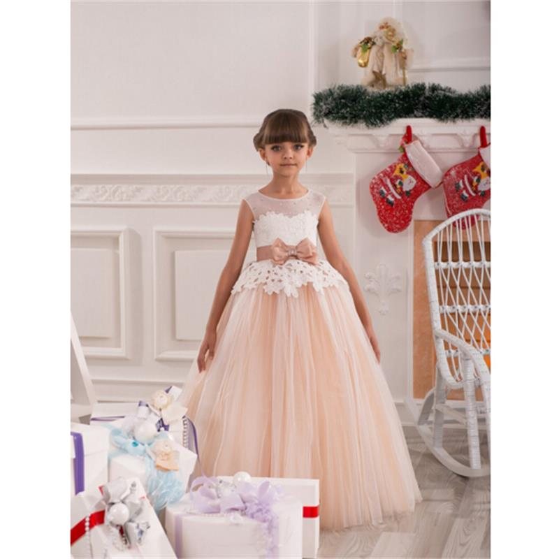 Vintage Lace Flower Girls Dresses For Wedding Party Custom 2016 Winter Sashes Belt Tulle Ball Gown Cheap Birthday Party Dress
