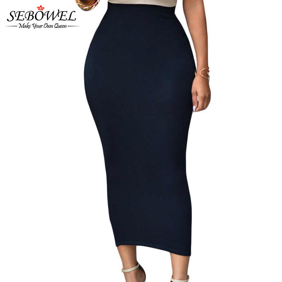 SEBOWEL Sexy Women Summer Bodycon Long Skirt Black High Waist Tight Maxi  Skirts Female Club Party 537cd5e7e157