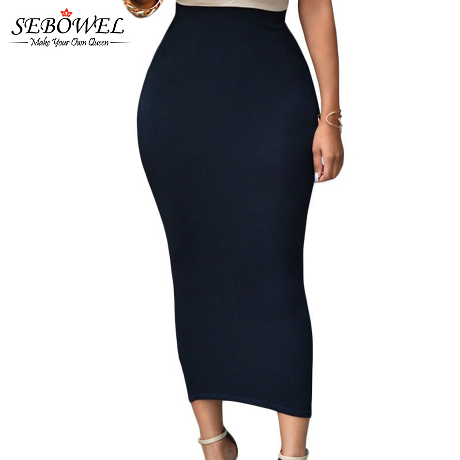 purchase cheap 44538 08095 US $10.91 49% OFF|SEBOWEL Sexy Frauen Sommer Bodycon Lange Rock Schwarz  Hohe Taille Engen Maxi Röcke Weibliche Club Party Tragen Elegante Bleistift  ...