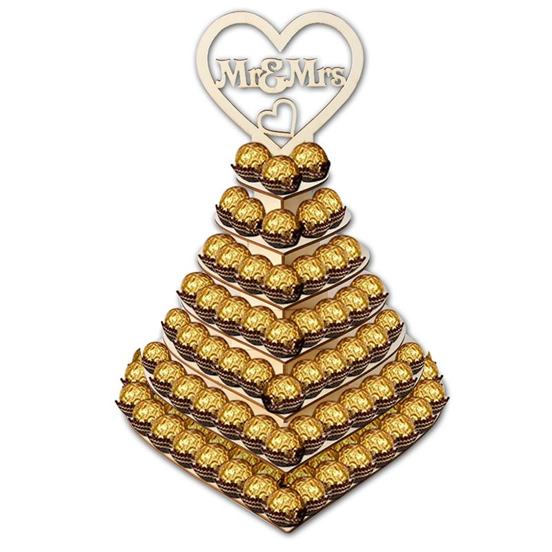 DIY 7 Tier Heart Shape Mr & Mrs Wooden Chocolates Cupcake Holder Pyramid Tower Wedding Party Display Stand Candy Bar Decor