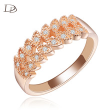 585 Rose Gold color Wedding Engagement Leaf Rings Female Jewelry rhinestone Rings Women Knuckles Weapon Bague Accessories HH134
