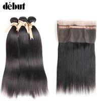 Debut Brazilian Hair Weave Bundles Straight Hair Bundles With Closure 12 To 26 Inch 2/3Bundles With 360 Lace Frontal Closure