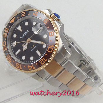 цена Luxury Brand parnis Black Dial ceramic Bezel GMT Luminous Sapphire Glass 40mm relogio masculino Automatic movement men's Watch онлайн в 2017 году