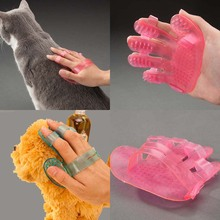 2pcs Pet Dog Cat Grooming Shower Bath Massage Brush Comb Hand Shaped Glove Blue Red