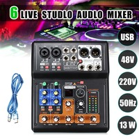 Professional 6 Channel Live Studio Audio Mixer DJ Mixing Phantom Console Mini USB Amplifier Digital Microphone Sound Mixer Sou