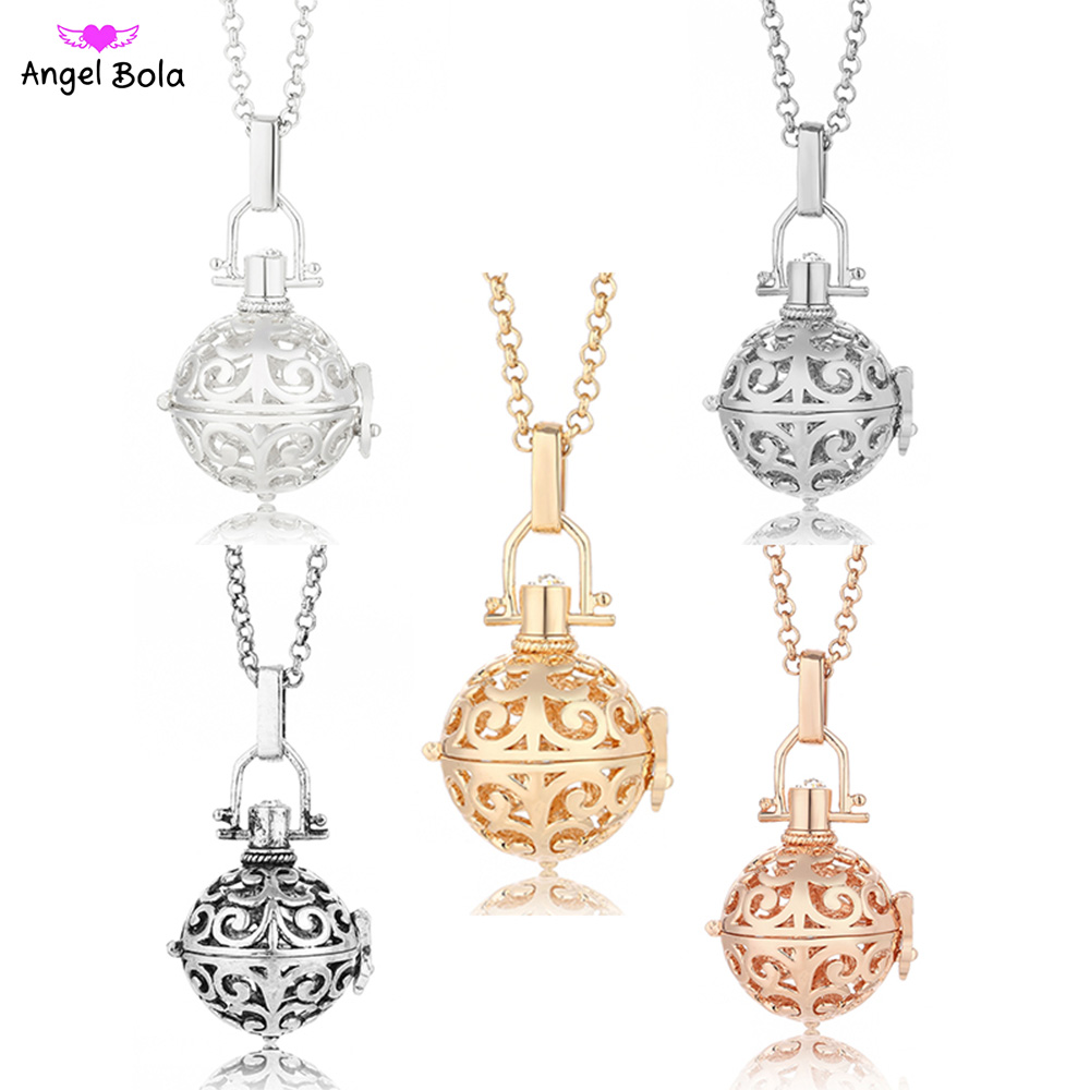 20.5mm Hollow Angel Bola Aromatherapy Pendant Music Necklace Fragrance Cage Essential Oil Locket Long Chain Necklace NL019
