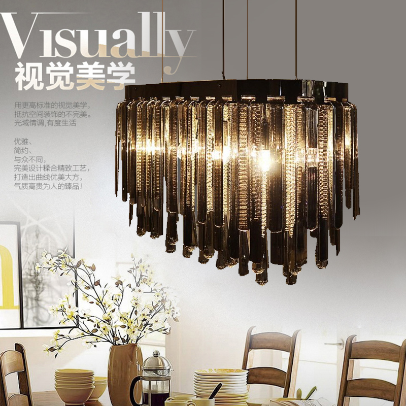 Post Modern smoke crystal chandelier lamps for dining room LED black grey crystal chandelier lustres restaurant coffee Bar light
