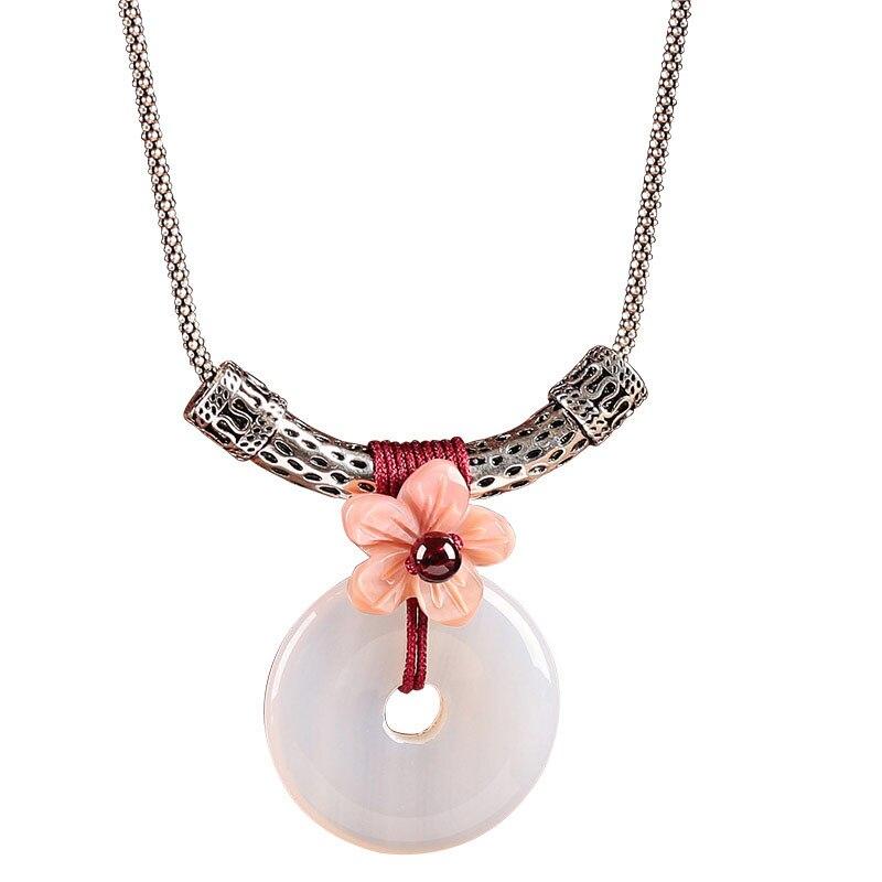 Chinois Vintage Style ethnique 925 collier bijoux accessoires collier rond pour femmes colliers et pendentifs cadeau