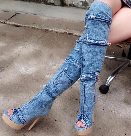 Woman summer new denim open toe thin high heel cool boots Fashion patchwork super high heel long boots Ladies sandals new fashion boots summer cool