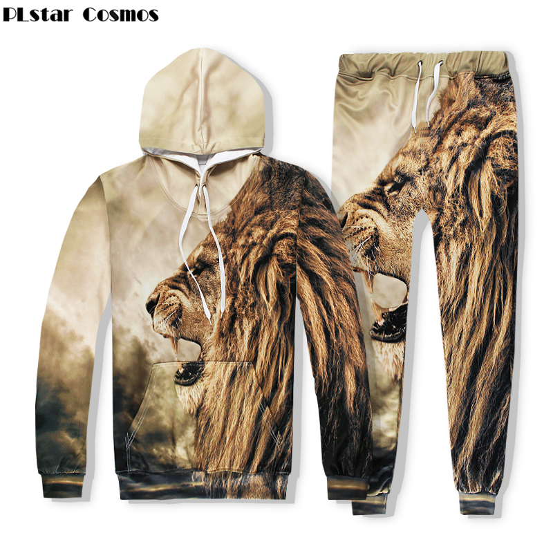 PLstar Cosmos 2017 Autumn Fashion Hoodies Animal 3D Print lion lion head hip hop pullovers casual Hoodies + joggers pants Sets