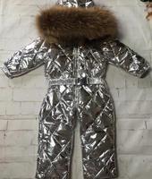 115cm 155cm jumpsuits 2019 Winter Jacket Children jumpsuit duck down Fur hooded girl snowsuit boy Suit set outerwear ski suit