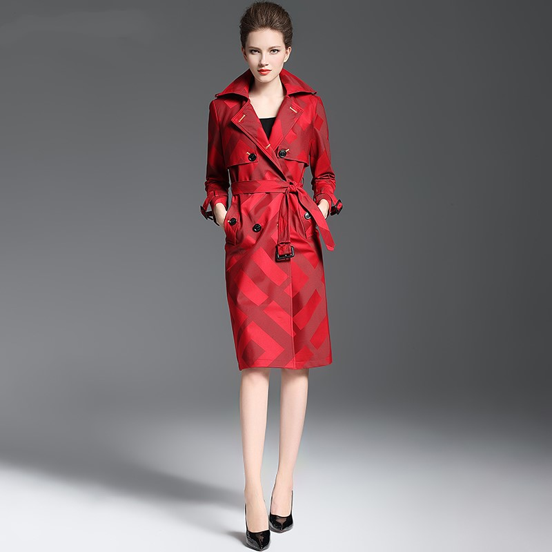 Damskie jakości wykop płaszcz wiosna jesień długa chusta wzór pas przycisk talii Slim płaszcz kobiet poliester czerwony klapa trencz w Trencze od Odzież damska na  Grupa 2
