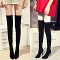 Designer De Moda Couro genuíno camurça coxa botas altas grossas de salto alto mulheres esticar sobre o joelho botas de inverno sapatos de outono