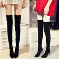 Genuine Leather Fashion Designer suede thigh high boots chunky high heels women stretch over the knee boots autumn winter shoes