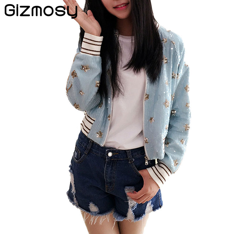 2017 Bomber   Jackets   Coats Women Long Sleeve O Neck Outwears Zippers Pockets Coat Sequins Embroidery Bomber   Basic     Jacket   SY1266