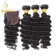 """""""HairUGo"""" žmogaus plaukų giliai bangų paketai su uždara braziliško žmogaus plaukų audeklu 3 paketai su užtrauktuku """"Non Remy Natural Black Hair"""""""
