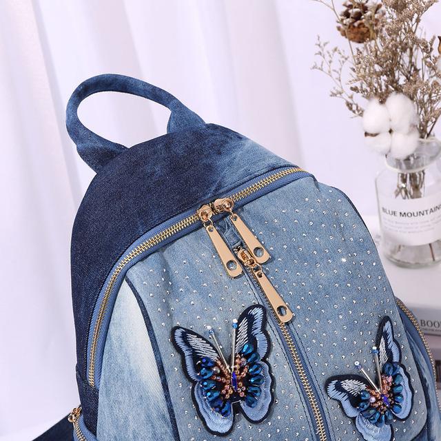 Rifľový batoh MOTÝĽ Denim Backpack BUTTERFLY