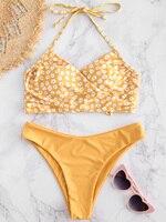 ZAFUL 2019 New Cross Bikini High Cut Bikini Floral Swimsuit Floral Bathing Suit High Leg Bikini Set