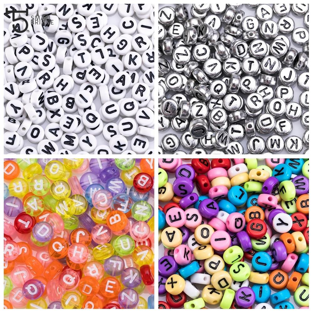 200 pièces plat rond acrylique lettre perles pour la fabrication de bijoux Bracelet bricolage accessoires Alphabet bricolage perles en gros P600