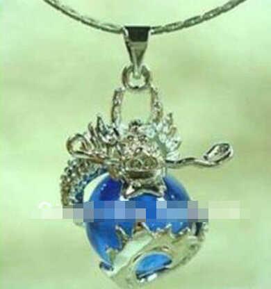 Бесплатная доставка >>@>> горячее надувательство Очаровательная Ювелирные Изделия серебристо-голубой нефрит дракон Амулет подвеска и Ожерелье