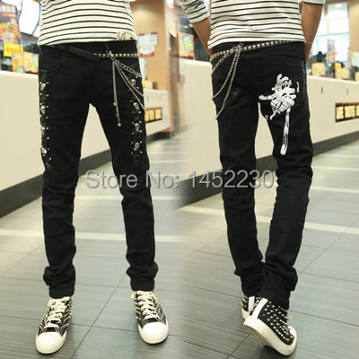 6b6a43cd51e3 Men asap rocky drop crotch pant slim fit baggy skinny PU leather biker jeans  patches tight black rivets pencil punk jean costume-in Jeans from Men's ...