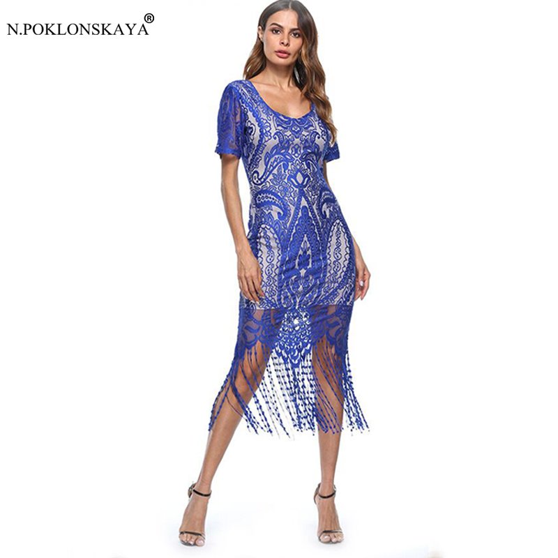 Fashion Women Sexy Lace Dress Short Sleeve Tassel Knee Length Dresses 2018 Female Party Club Wear Dress Bldycon Summer Dresses