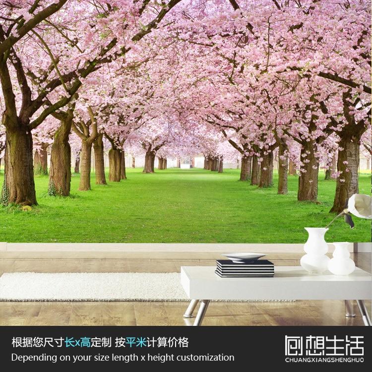 Mural romantis bunga sakura mural besar 3d 3d wallpaper kamar tidur ruang tamu tv pengaturan kertas