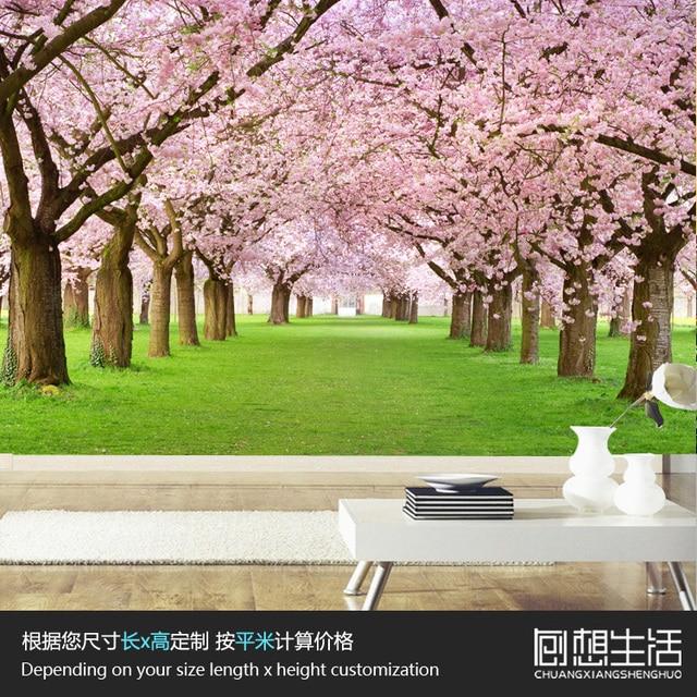 Mural Romantis Bunga Sakura Mural Besar 3d 3d Wallpaper Kamar Tidur