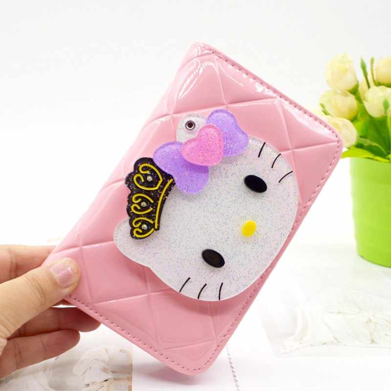 0e3908906 Luxury Famous Brand Hello Kitty Cute Kawaii Short Small Ladies Wallet Womens  Leather Wallets and Purses