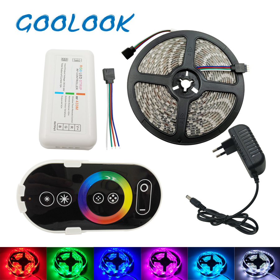 LED Strip Light 5050 2835 LED RGB Ribbon Strip 5M 10M Waterproof Diode DC12V LED Tape Flexible RF Touch control Adapter set 10m 5m 3528 5050 rgb led strip light non waterproof led light 10m flexible rgb diode led tape set remote control power adapter