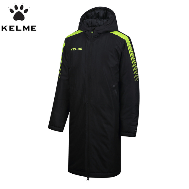 92bf57146a272 KELME Training Sport Jacket 2017 New Clothing Jackets Long Thick Winter  Coat Men Solid Overcoat Outerwear