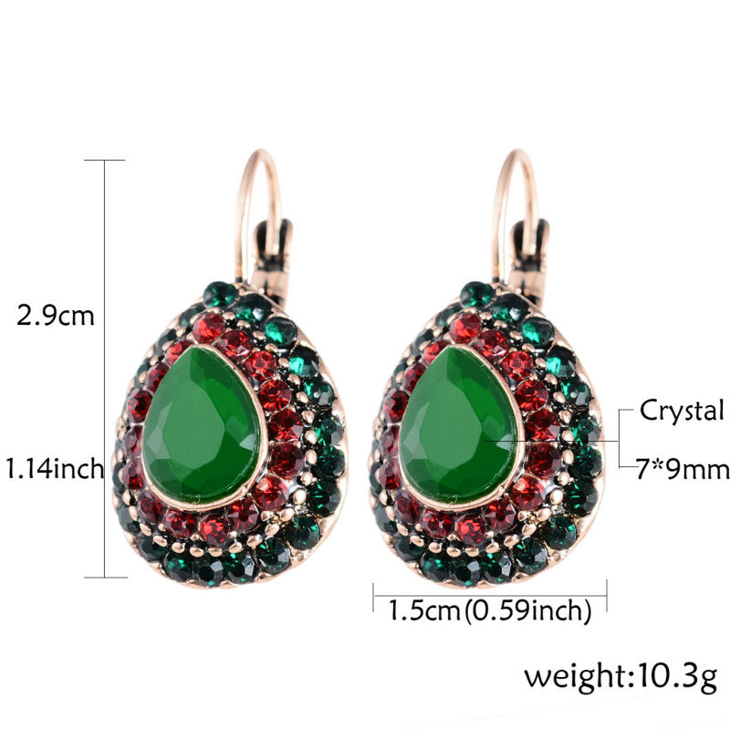 2018 New Women Vintage Ethnic Earrings Retro Style Colorful Bead Crystal Rhinestone Drop Earring Latest Jewellery Designs