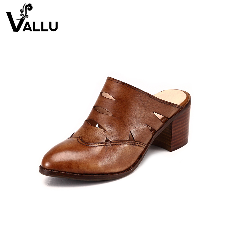 Women Shoes Genuine Leather 2017 Summer Cut Out Women Pumps Pointed Toes Square Heels Casual Handmade