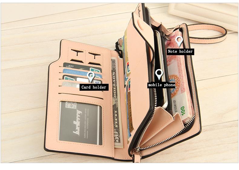 2018 New Wallet Split Leather Wallets Female Long Wallet Women Zipper Purse Money Bag pink one size 8