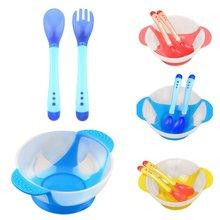 лучшая цена 3 pcs/set Baby Learnning Dishes With Suction Cup Assist Food Bowl Sensing Spoon Drop Baby Spoon Bowl Set Baby Tableware
