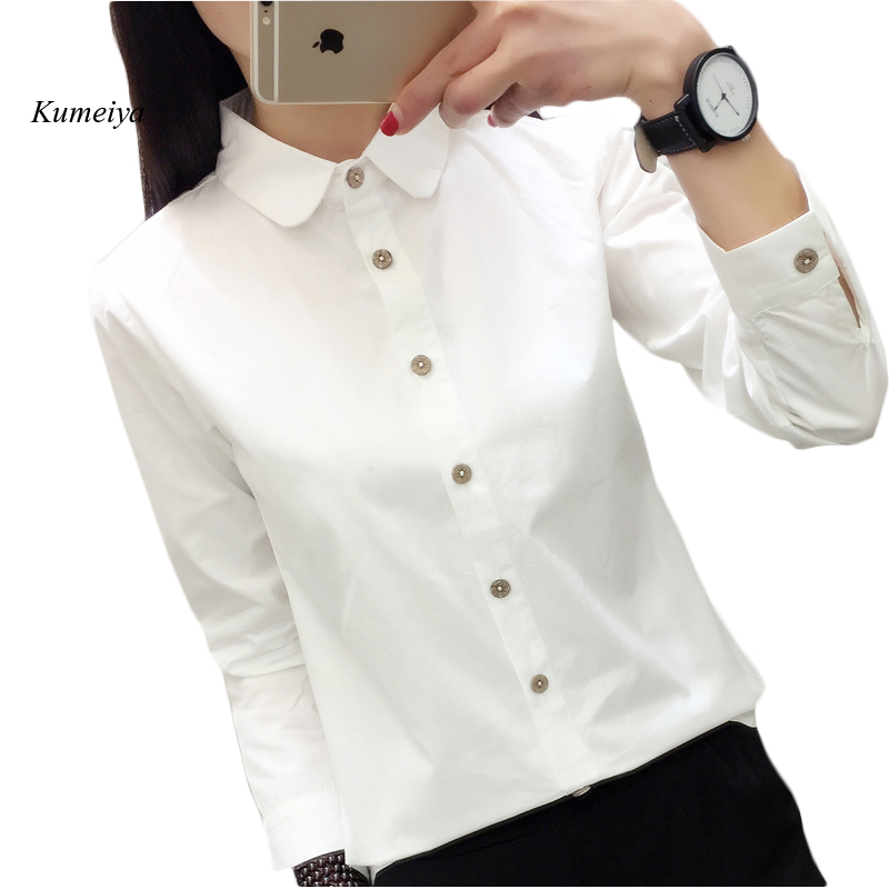 Spring White Blouse Women 100% Cotton Office Shirts