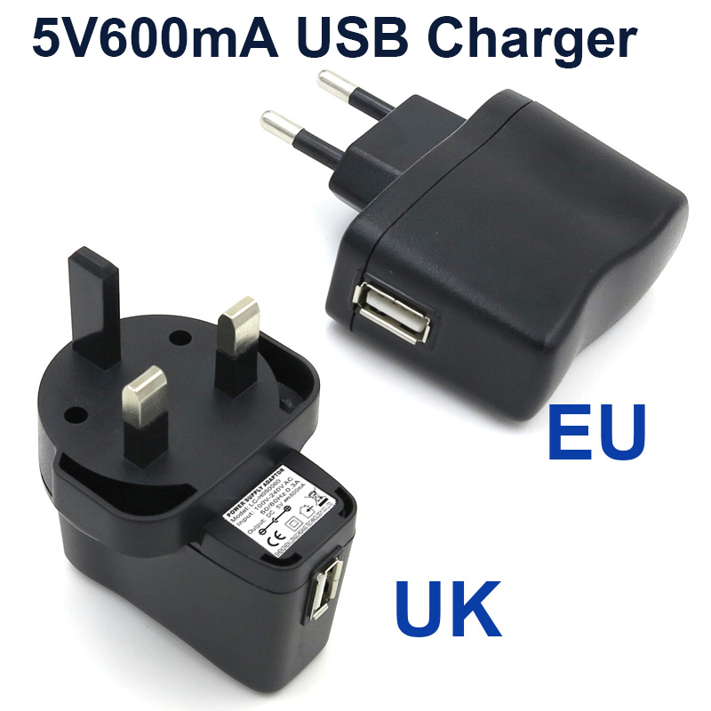 VORED 1PCS New 5V600mA EU/UK Plug USB Charger Power Adapter Portable Travel Wall Charger for Electric toothbrush Free shipping image
