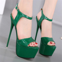 2019 Extreme High Heel Sandals Fashion Womens Shoes Peep toe Pumps Sexy 16CM Super High Heels Gladiator Buckle Strap Shoes