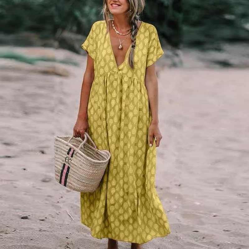 Elsvios женское платье с v-образным вырезом и цветочным принтом в стиле бохо летнее пляжное длинное платье с коротким рукавом женские свободные платья большого размера Vestido