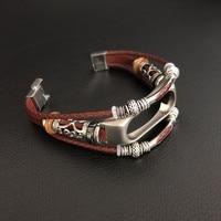Correa de reloj para Xiaomi Mi Band 2, accesorio de pulsera de cuero genuino Retro Para Xiaomi Mi Band 2